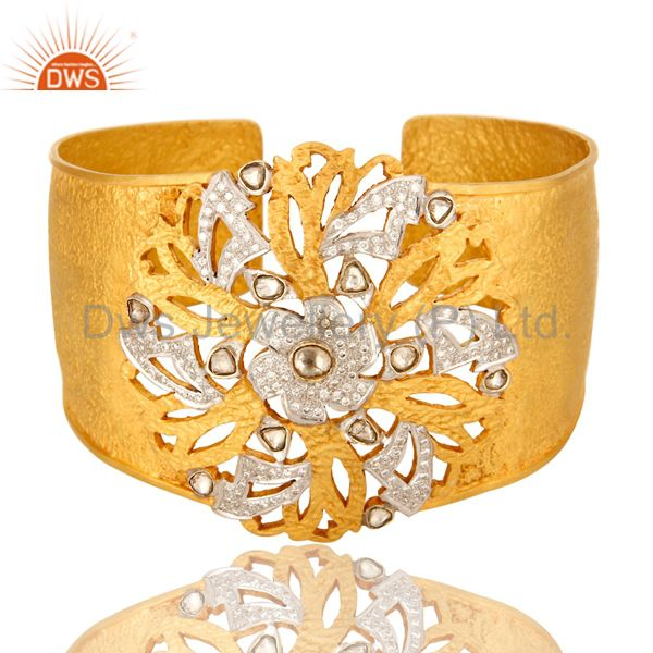 Natural Rose Cut Diamond 18kt Solid Yellow Gold Wide Cuff Bangle Bracelet Jewelr