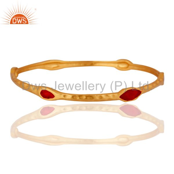 22k yellow gold plated sterling silver red enamel hammered bangle