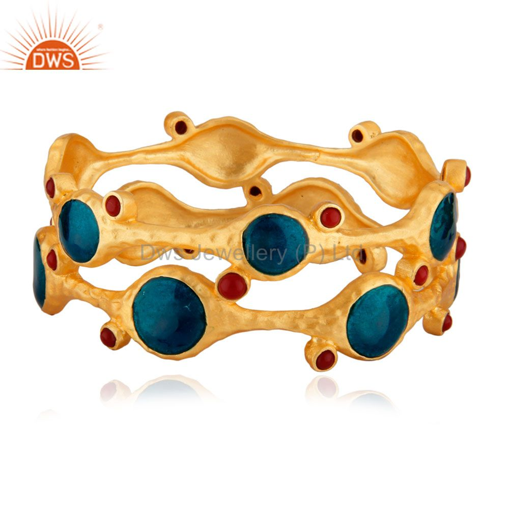 Natural red coral round 24k gold brass hammered meena bangle