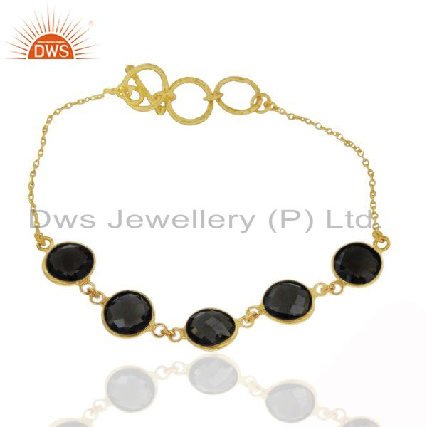 Handmade Sterling Silver Smoky Quartz Bracelet With 22K Yellow Gold Plated