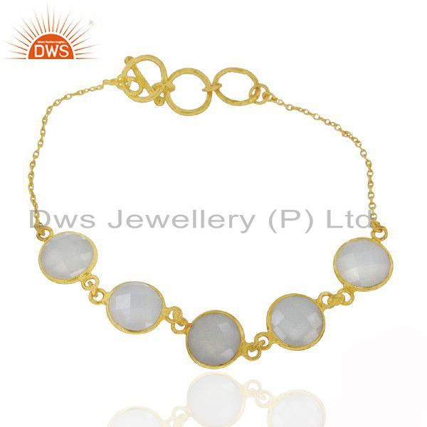 18K Matte Yellow Gold Plated Sterling Silver White Chalcedony Gemstone Bracelet