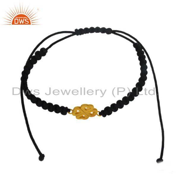 18K Yellow Gold Plated Sterling Silver Four Heart Charm Macrame Bracelet