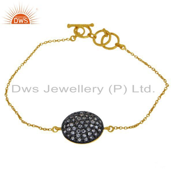 18K Yellow Gold Plated Sterling Silver Cubic Zirconia Chain Bracelet