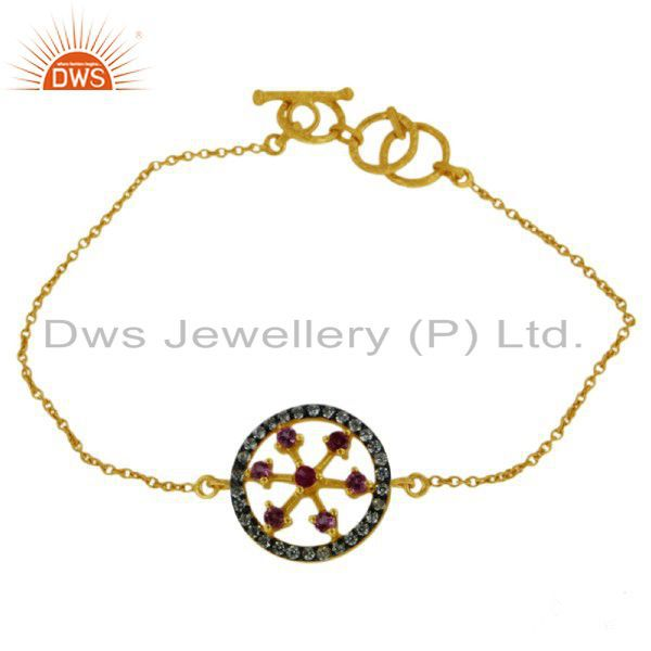 18K Yellow Gold Plated Sterling Silver Pink Tourmaline And CZ Fashion Bracelet