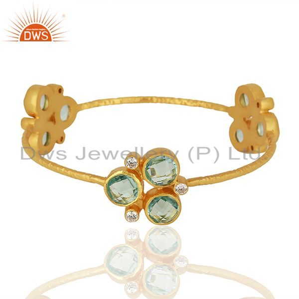 Designer Gold Plated Blue Topaz Gemstone Fashion Bangle Supplier