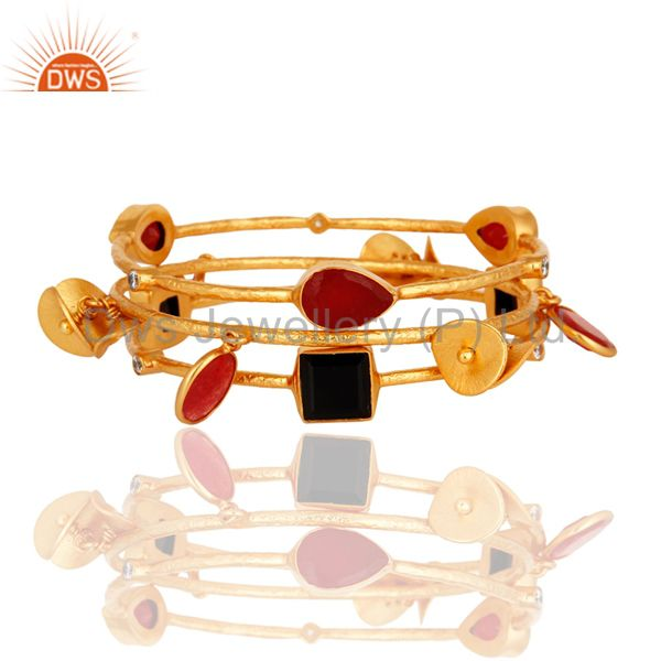 18K Gold Plated Brass Matte Finish Red Aventurine & Black Onyx Bangle