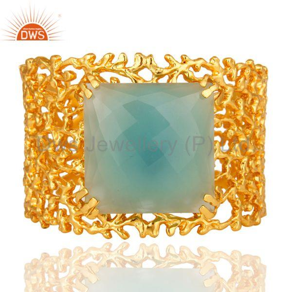 18K Yellow Gold Plated Dyed Aqua Chalcedony Designer Wide Cuff Bracelet Bangle