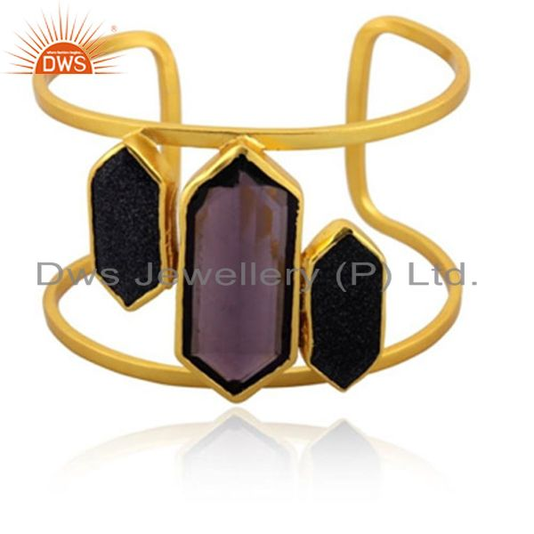 Handmade Hydro Amethyst And Sunstone 22K Yellow Gold Plated Brass Cuff Bracelet