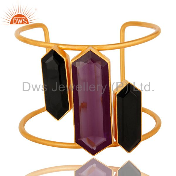 Hydro Amethyst And Black Onyx Gemstone 18K Gold Plated Cuff Bracelet Wide Bangle