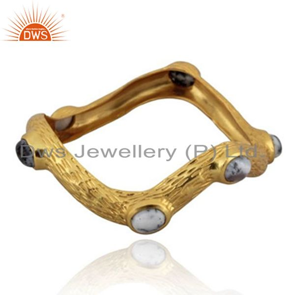 Handmade 24k yellow gold brass brushed finish dendritic opal bangle