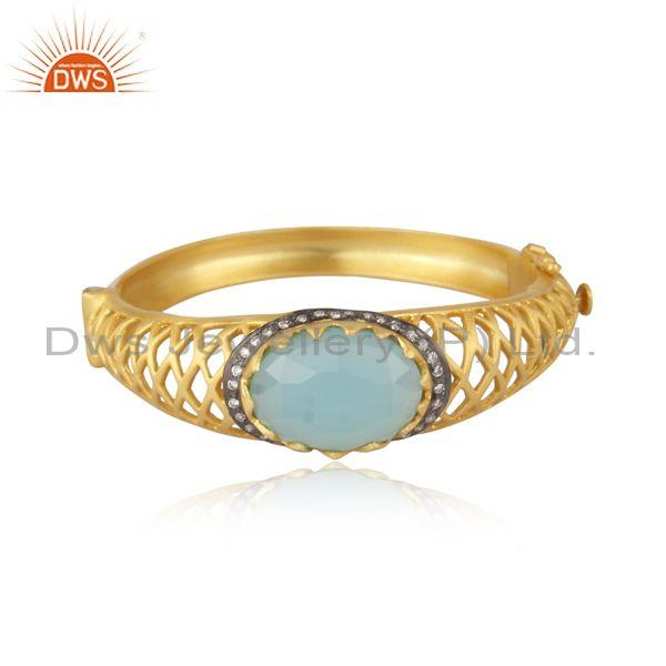 Cz and aqua chalcedony set textured brass gold fancy ring