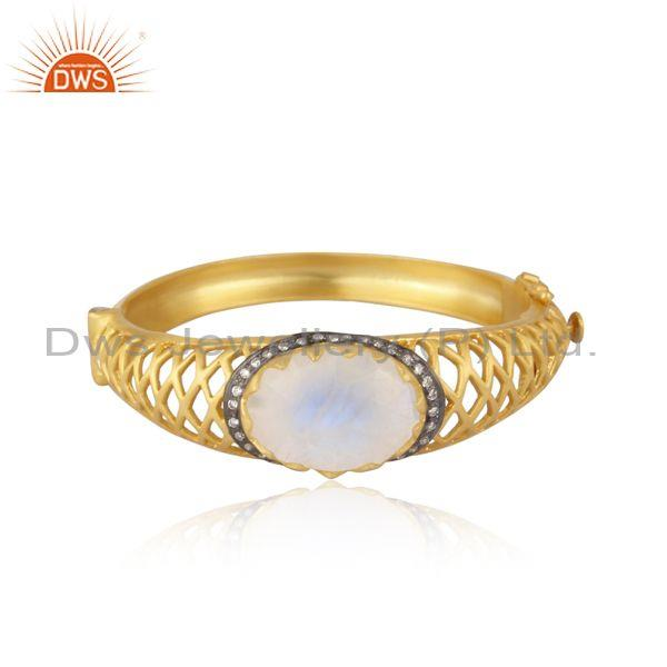 Cz and rainbow moon stone set textured brass gold fancy ring