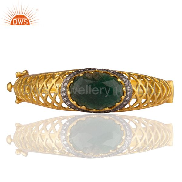 24K Yellow Gold Plated Brass Green Aventurine And CZ Designer Bangle Bracelet
