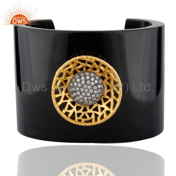 18K Yellow Gold Plated Brass Cubic Zirconia Black Bakelite Cuff Bracelet