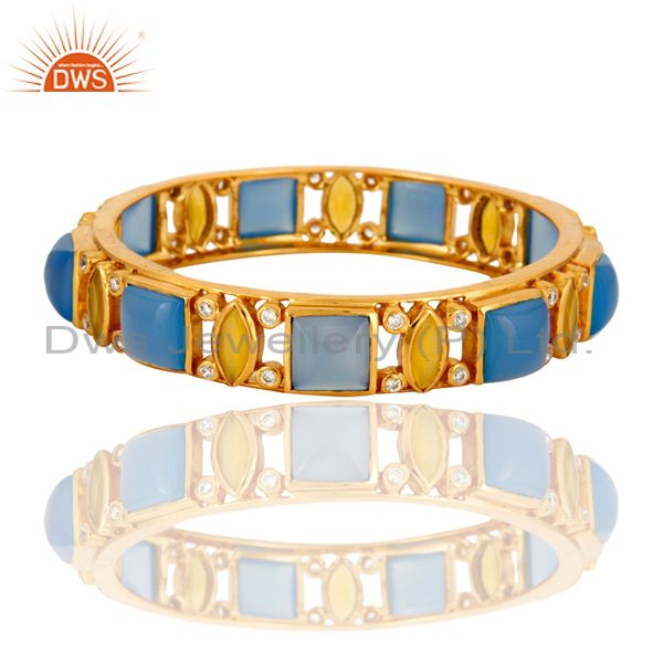 22K Yellow Gold Plated Aqua Chalcedony And Moonstone Designer Bangle With CZ