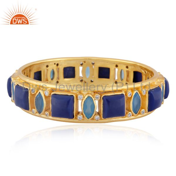 24K Yellow Gold Plated Brass Blue Chalcedony And Lapis Lazuli Bangle With CZ