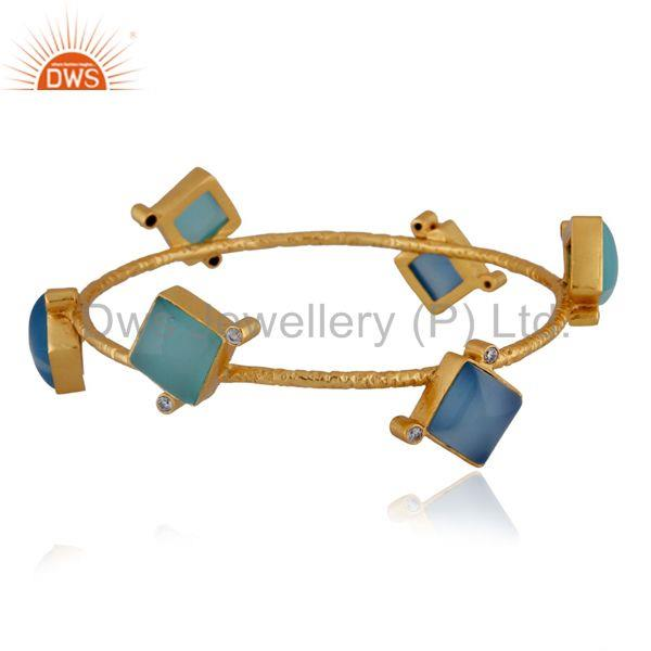 22K Yellow Gold Plated Aqua Chalcedony Hammered Stackable Bangle With CZ