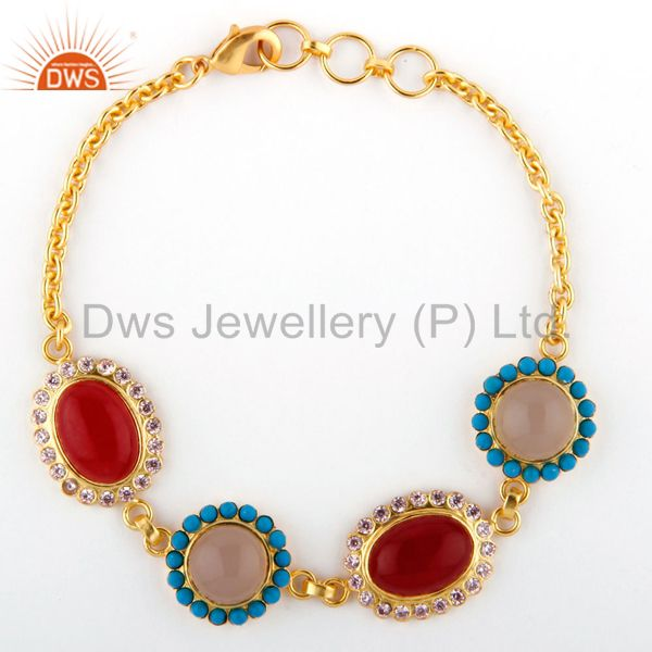 22k gold plated brass red aventurine, turquoise and chalcedony fashion bracelet