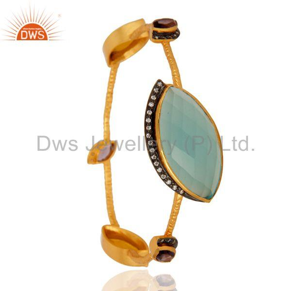 Style pave white zircon 18k gold yellow moonstone sleek bangle