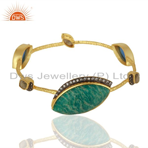 Amazonite Gemstone Gold Plated Womens Brass Bangle Jewelry Supplier