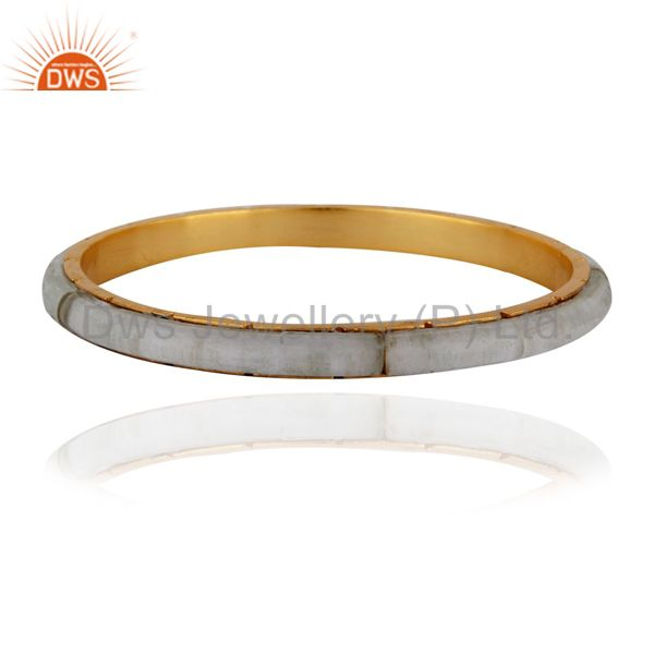 18k yellow gold plated crystal quartz sleek bangle women jewelry