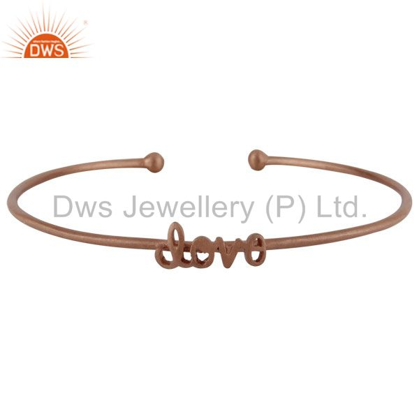 18K Rose Gold Plated Sterling Silver Love Stackable Bangle Cuff