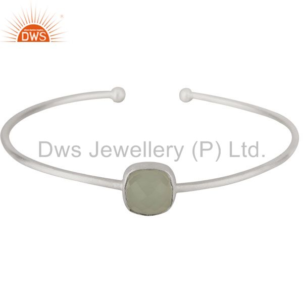 925 Sterling Silver Green Chalcedony Gemstone Stackable Torque Bangle Bracelet