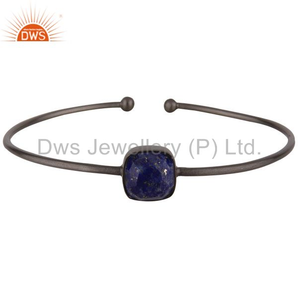 Oxidized Solid Sterling Silver Faceted Lapis Lazuli Torque Bangle Bracelet