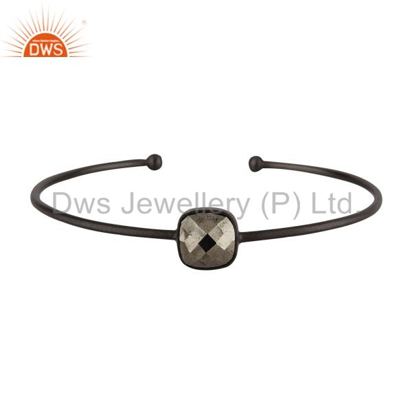 Oxidized solid 925 sterling silver faceted pyrite torque bangle