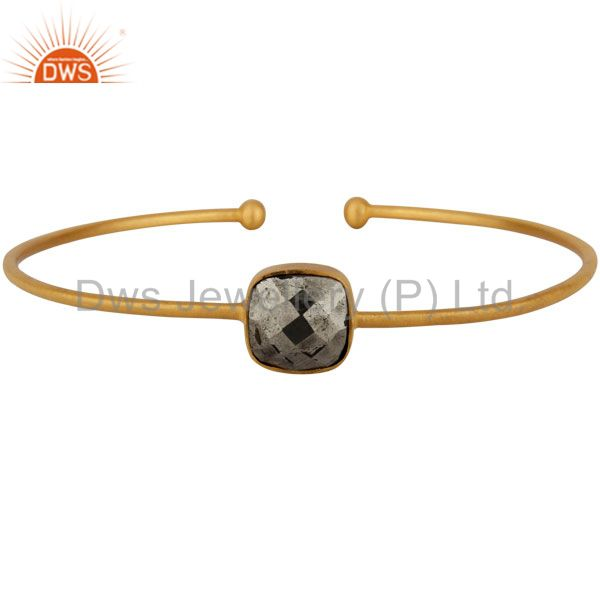 18K Yellow Gold Plated Sterling Silver Pyrite Stack Torque Bangle Cuff Bracelet