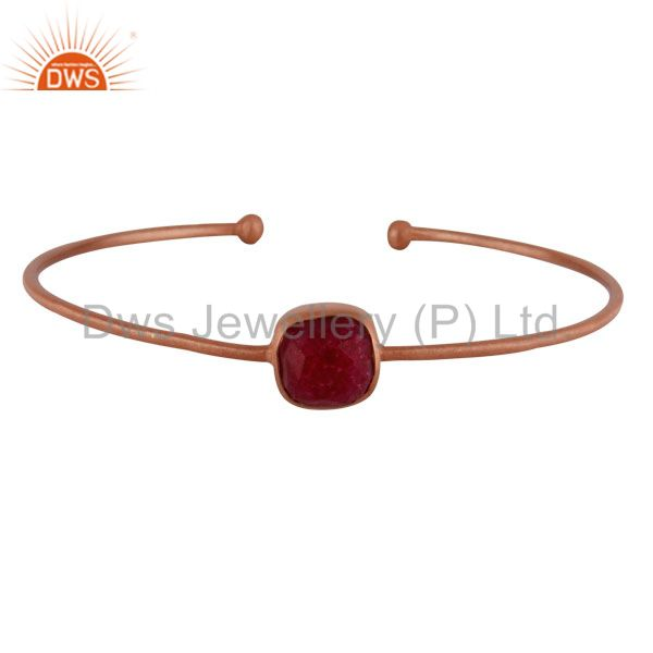18K Rose Gold Plated Sterling Silver Dyed Ruby Gemstone Stackable Bangle