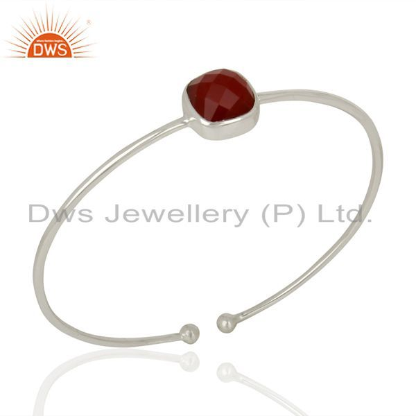 Red Onyx Cuff 925 Sterling Silver Bangle Gemstone Jewelry