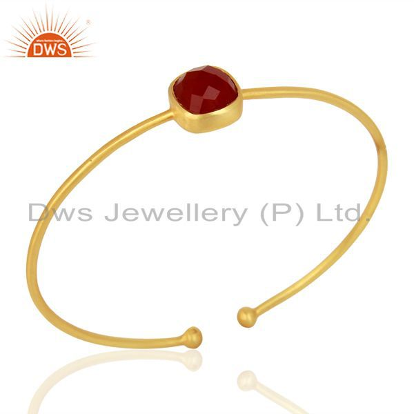 Red Onyx Gemstone 925 Sterling Silver 18k Gold Plated Openable Bangle Jewelry