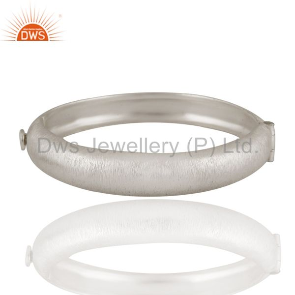 Brushed satin matte finish solid sterling silver openable bangle