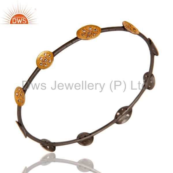 Gold Plated Black Oxidized Plated Handmade Cubic Zirconia Designer Women Bangle