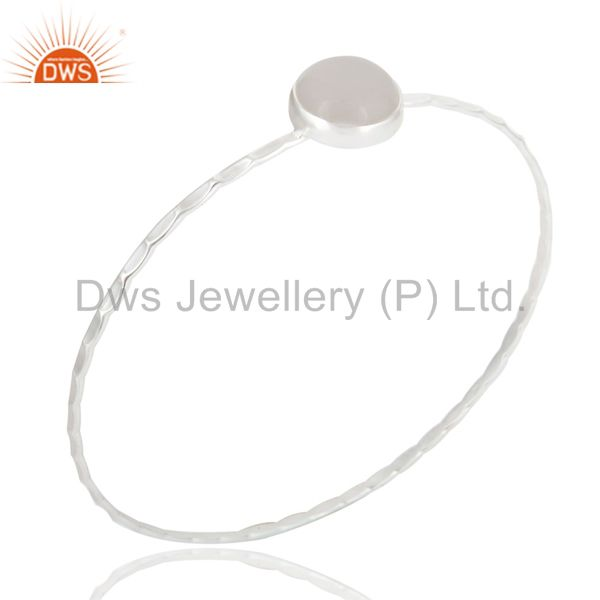 Textured 925 sterling natural white chalcedony sleek design bangle
