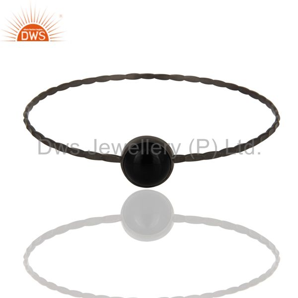 Handmade 925 Sterling Silver Black Onyx Gemstone Bangle