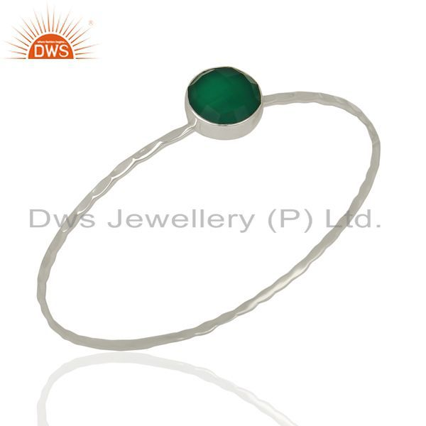 Green onyx cuff 925 sterling silver bangle gemstone jewelry