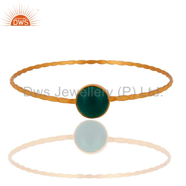 18K Yellow Gold Plated Sterling Silver Green Onyx Gemstone Bangle Bracelet