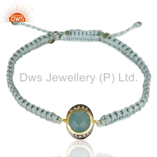Aqua Aventurine 14K Yellow Gold Plated Gemstone Macrame Bracelet