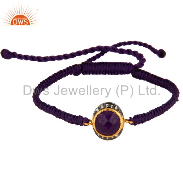 Purple Aventurine And CZ Sterling Silver Macrame Fashion Bracelet - Gold Plated