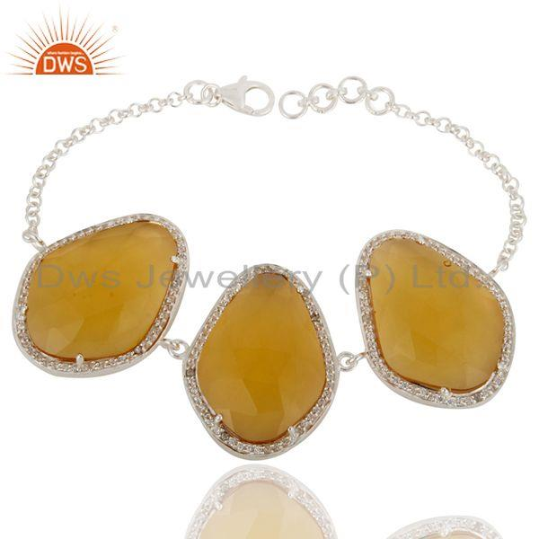 Created Citrine Gemstone Bracelet Made In 925 Sterling Silver With White Zircon
