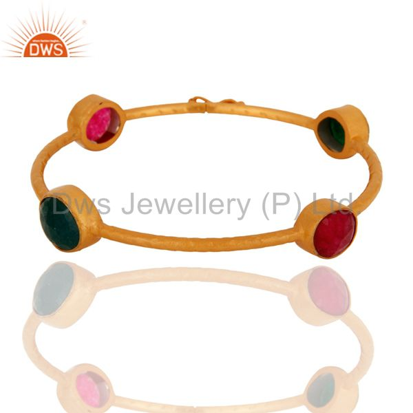 18k gold plated 925 silver red green aventurine gemstone bangle