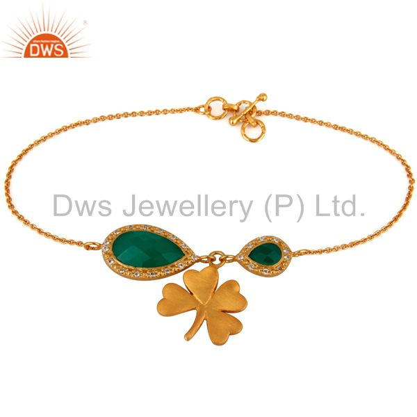 18K Gold Plated Sterling Silver Green Onyx & White Topaz Flower Charm Bracelets