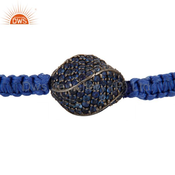 925 Sterling Silver Pave Set Blue Sapphire Bead Macrame Fashion Bracelet