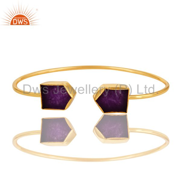 Shiny 18-Karat Yellow Gold Plated Purple Aventurine Adjustable Bangle Jewelry