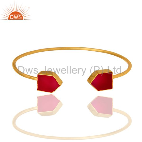 Handmade Dark Pink Chalcedony Gemstone 24K Gold Plated Adjustable Stack Bangle
