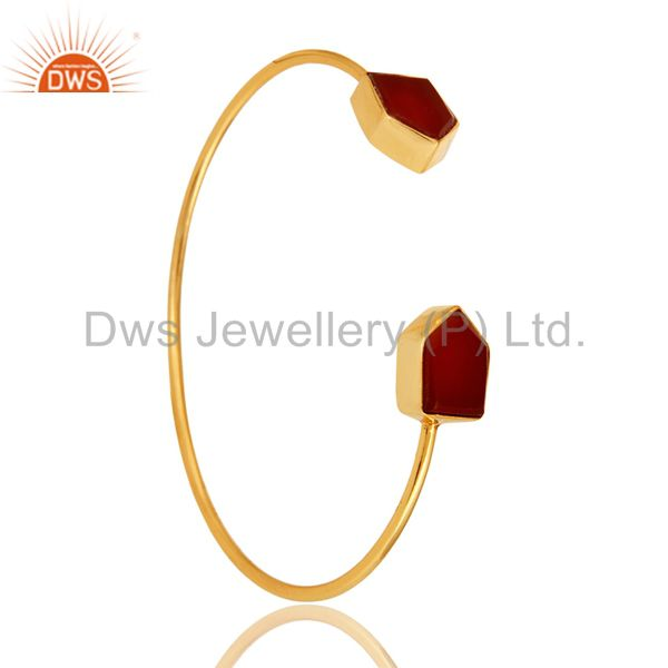 Handmade Red Onyx Gemstone 22K Yellow Gold Plated Adjustable Bangle