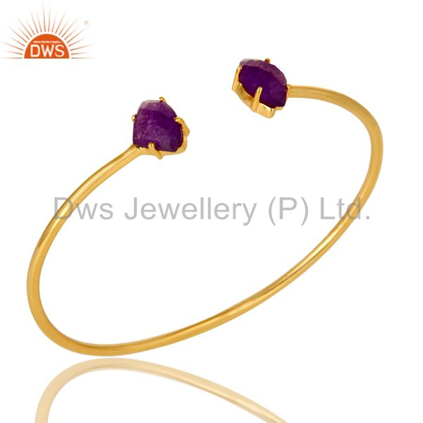 14K Yellow Gold Plated Prong Set Purple Chalcedony Open Stack Bangle Bracelet