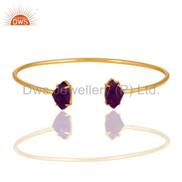 Purple Aventurine Gemstone Prong Set 14K Yellow Gold Plated Bangle / Bracelet